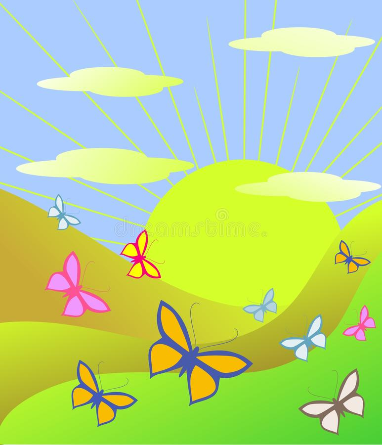 Download Springtime Iin A Valley With Butterflies Stock Illustration - Image: 16735383