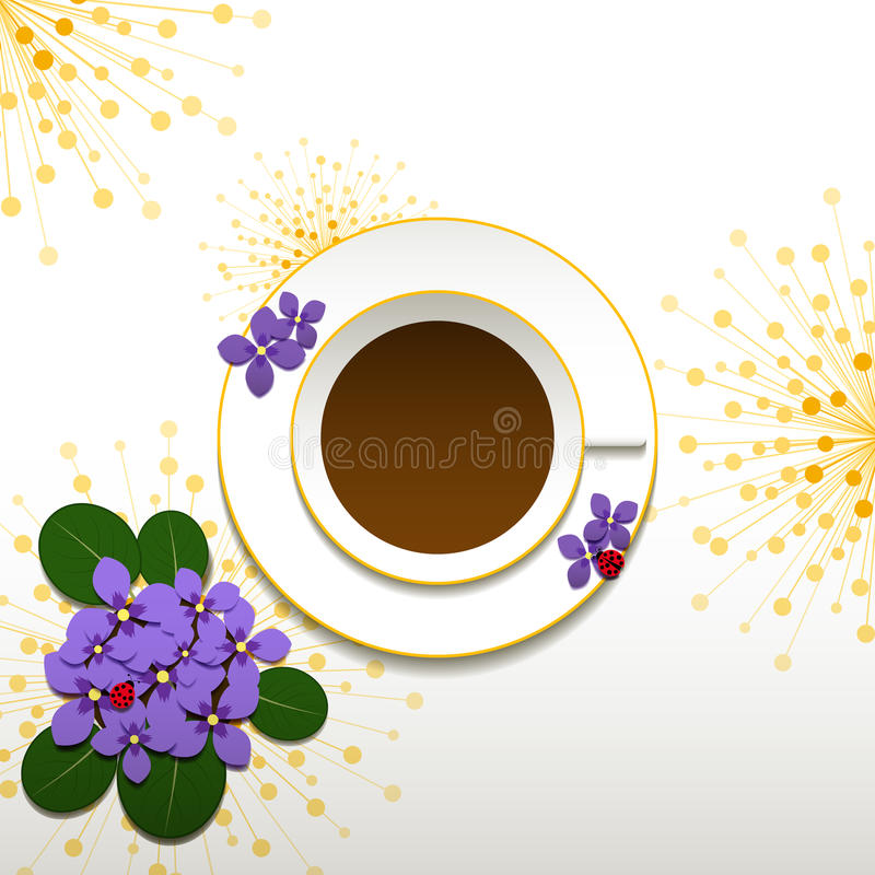 Springtime African Violet and Cup of Coffee. Springtime African Violet with Cup of Coffee Background stock illustration