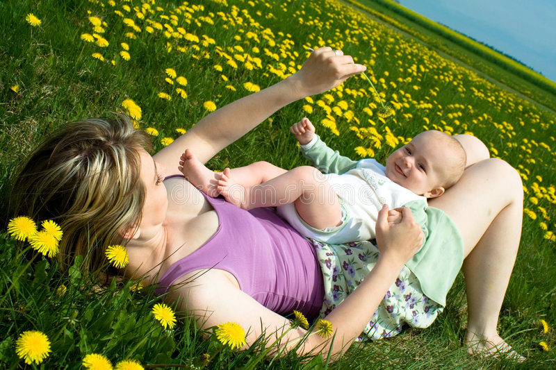 Springtime with baby royalty free stock photo
