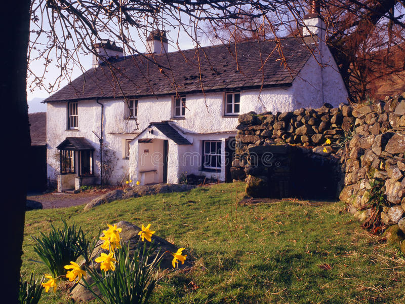 Springtime, Blea tarn farmhouse, Cumbria royalty free stock photography