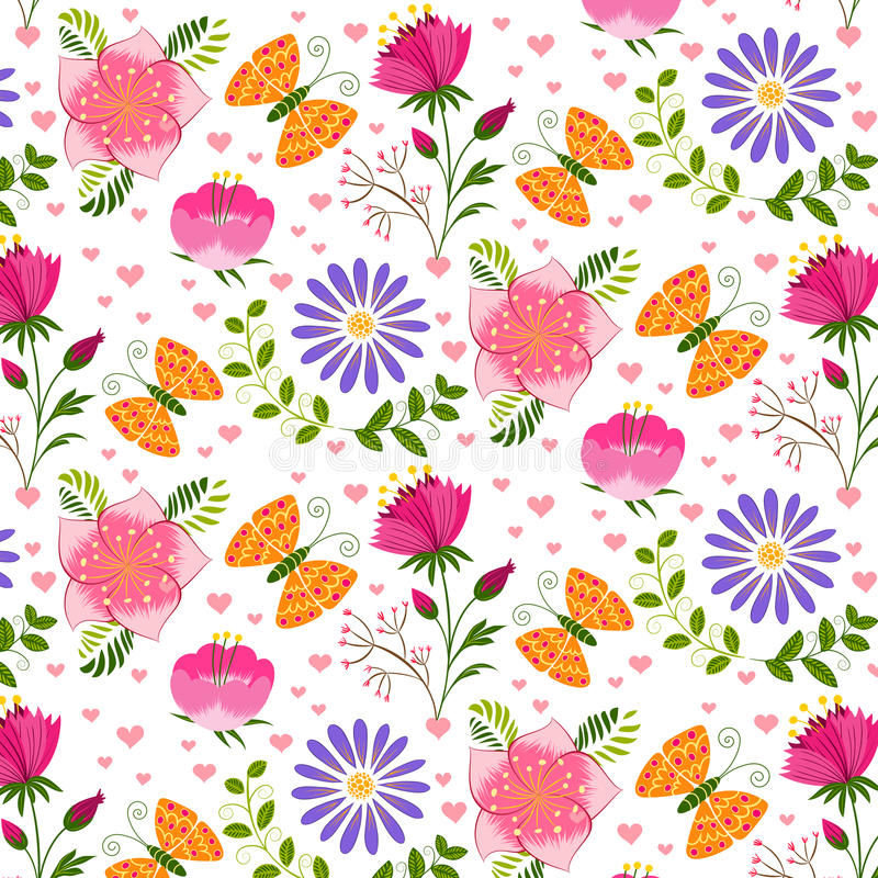 Springtime Colorful Flower and Butterfly Seamless Pattern. Background royalty free illustration