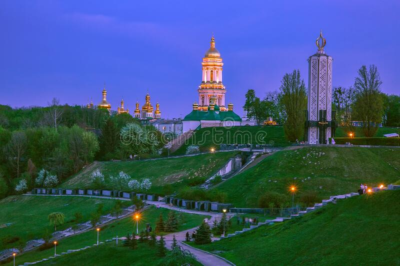 Springtime evening in Kyiv, Ukraine with view to Kyiv-Pechersk Lavra.  stock images