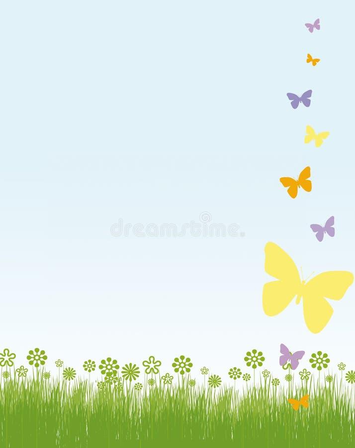 springtime för fjärilskorthälsningar vektor illustrationer