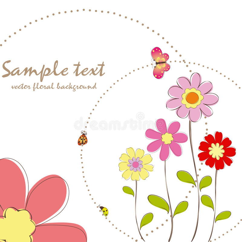 Springtime floral with butterfly greeting card stock illustration