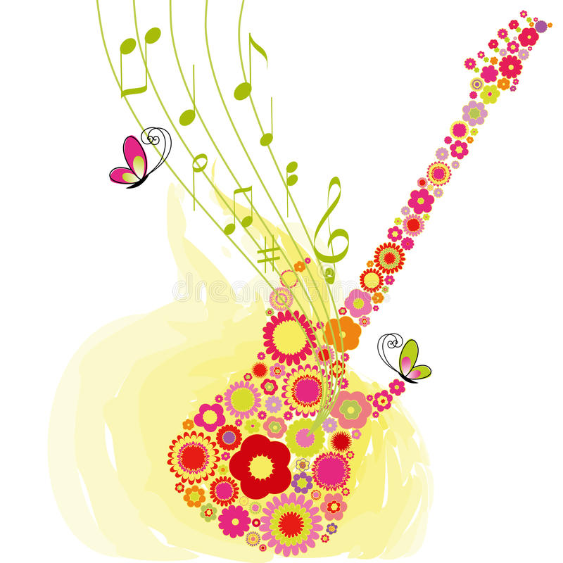 Springtime flower guitar music festival background royalty free illustration