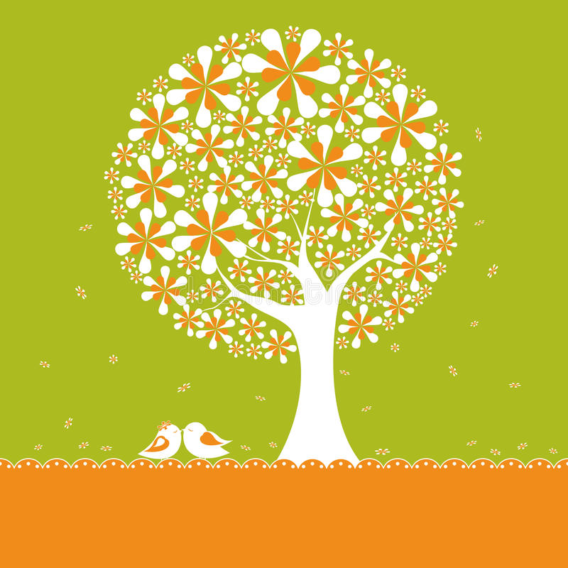 Springtime flower tree with lovebirds vector illustration