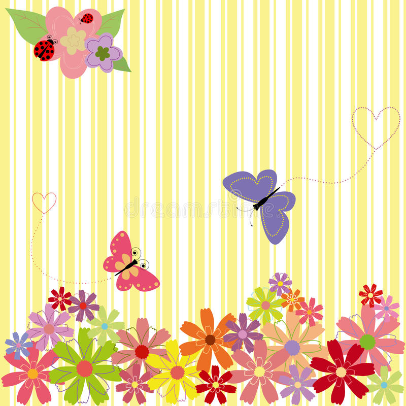 Download Springtime Flowers & Butterflies On Yellow Stripe Stock Vector - Image: 12819723