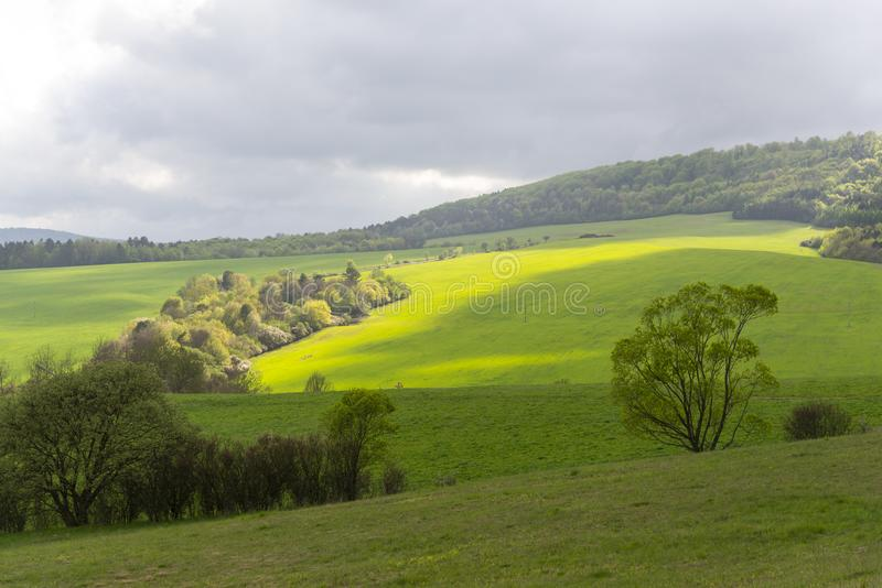 Springtime hills landscape from Slovakia royalty free stock images