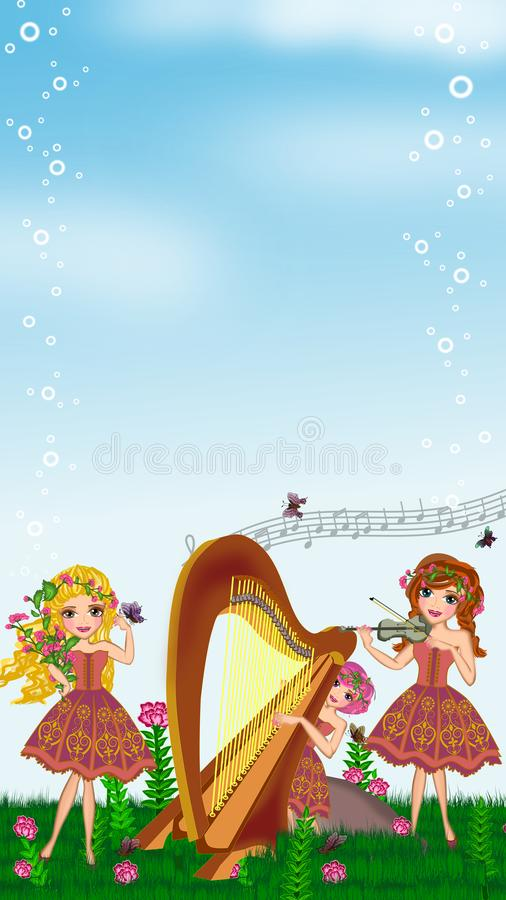 Springtime. Musical parade in the garden illustrations