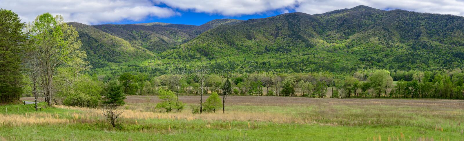 A springtime panorama from the Cades Cove section of the Great Smoky Mountains National Park royalty free stock images
