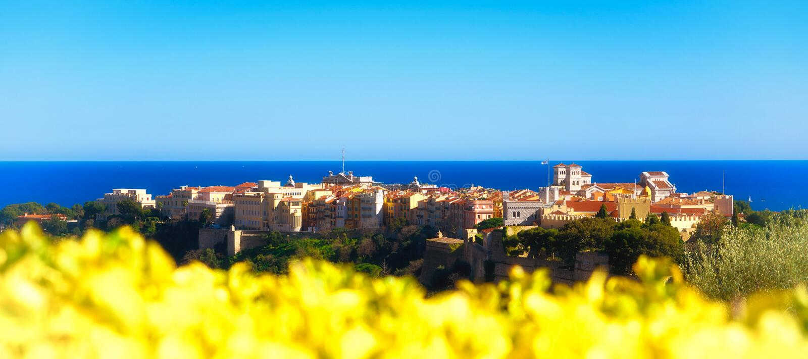 A springtime panoramic view of the Rocher in Monaco royalty free stock photo