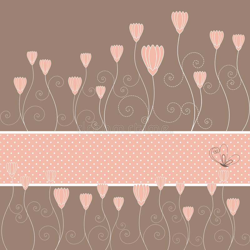 Springtime pink floral and butterfly greeting card. Springtime pink floral and butterfly on brown background greeting card royalty free illustration