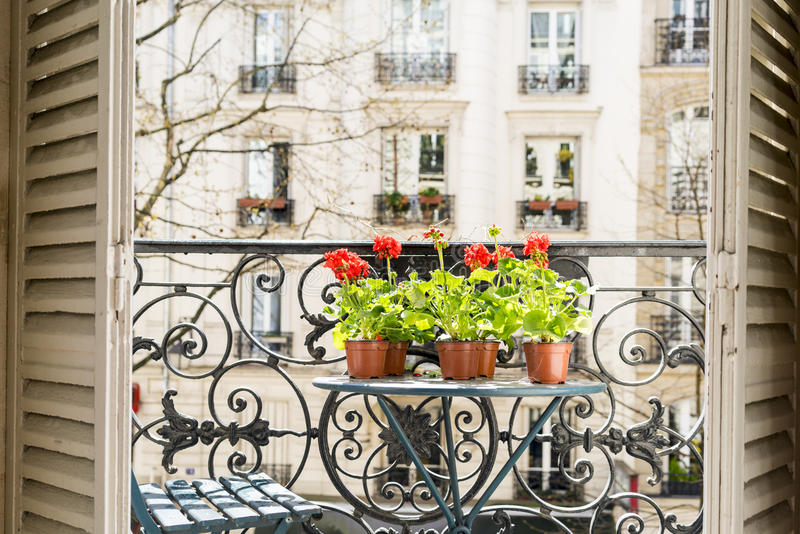 Springtime with red geraniums on a balcony in Paris, France. Springtime with red geraniums on a Paris balcony with wrought iron railing. Shadows from wrought royalty free stock image