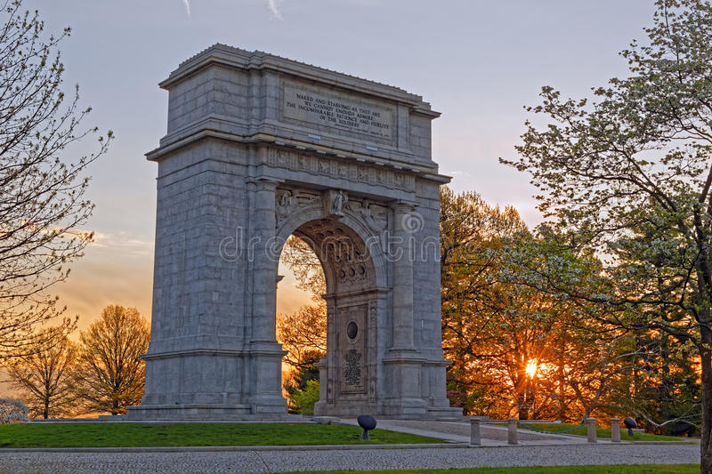 Springtime Sunrise at Valley Forge Park. A springtime sunrise at Valley Forge National Historical Park in Pennsylvania, USA.The National Memorial Arch is a royalty free stock photos