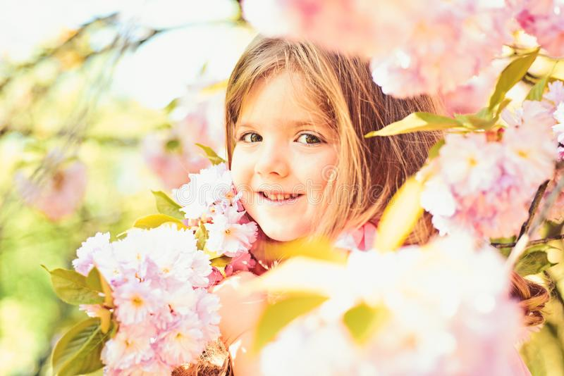 Springtime. weather forecast. face and skincare. allergy to flowers. Little girl in sunny spring. Small child. Natural royalty free stock photos