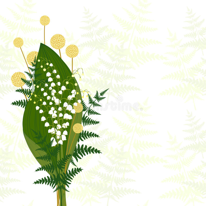 Springtime White Lily of The Valley. Fern Leaf, Craspedia vector illustration