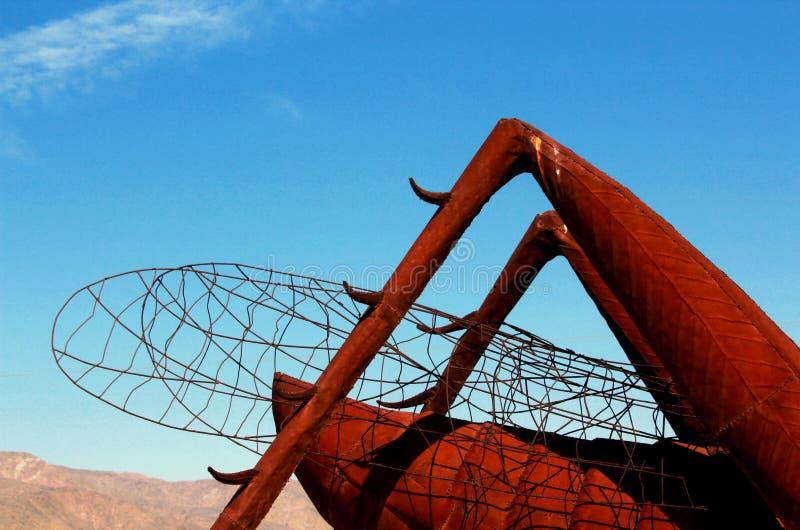 Sprinkhanenbeeldhouwwerk, het Park van de de Woestijnstaat van Anza Borrego, Californië royalty-vrije stock afbeelding
