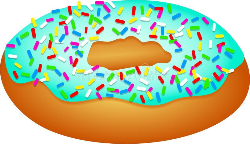 Sprinkle Doughnut. Illustration of an iced doughnut covered in sprinkles isolated on white royalty free illustration