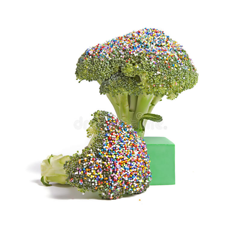 Sprinkled Broccoli royalty free stock photos