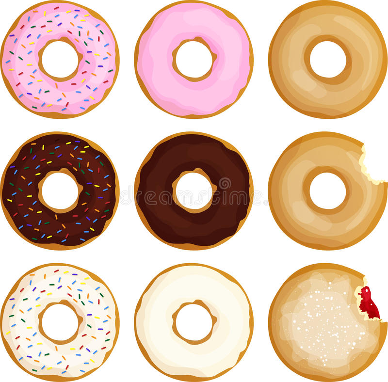 Sprinkled Frosted Donuts stock illustration
