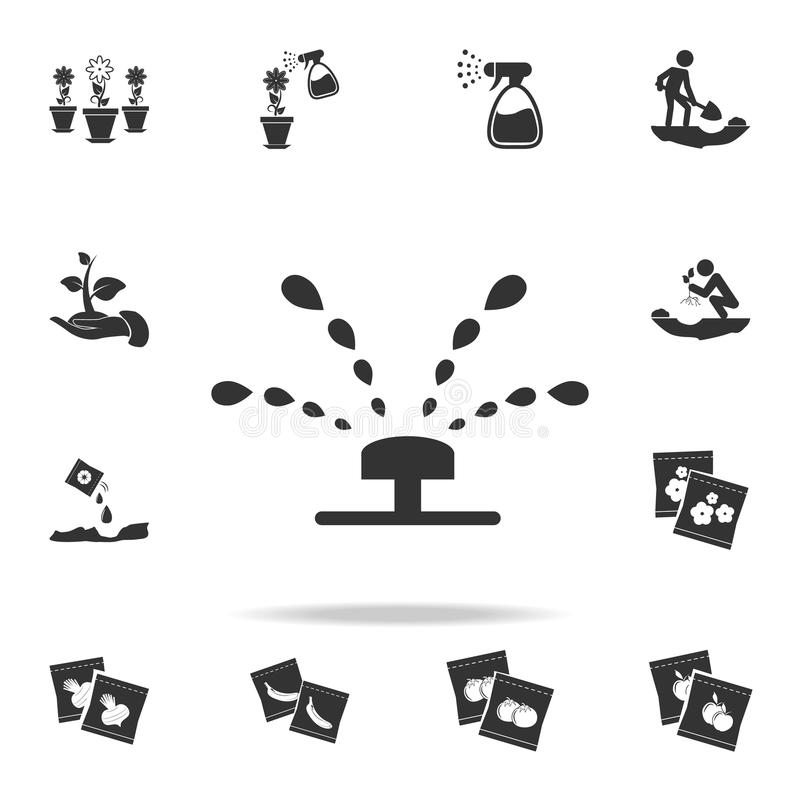 Sprinkler irrigation icon. Detailed set of garden tools and agriculture icons. Premium quality graphic design. One of the collecti stock illustration