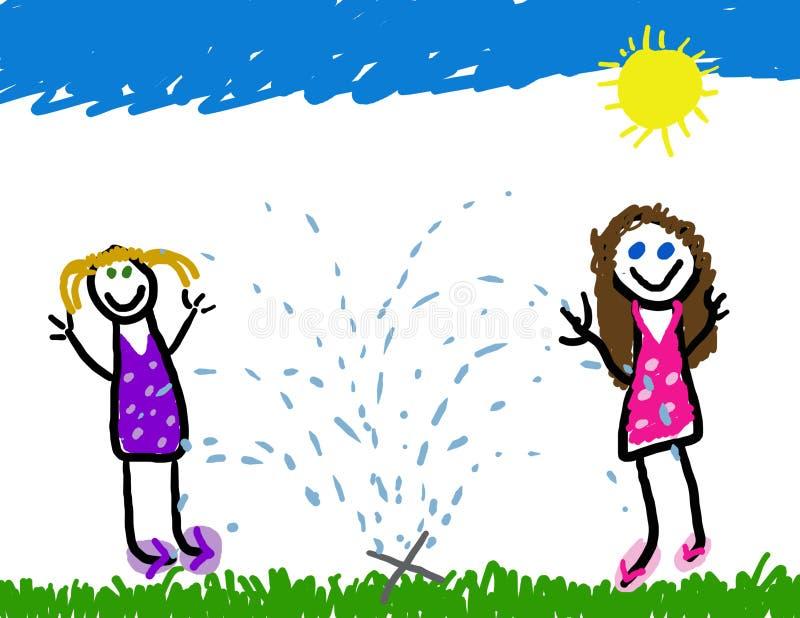 Sprinkler playtime fun vector illustration