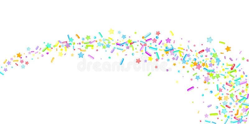 Sprinkles Cupcake donuts, dessert, bakery. Sprinkles grainy. Cupcake donuts, dessert, sugar, bakery background. Sweet confetti on white chocolate glaze vector illustration