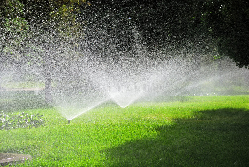Sprinkling plants. This is sprinkling machine in the garden stock photos