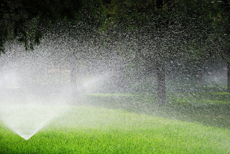 Sprinkling plants. This is sprinkling machine in the garden royalty free stock photography