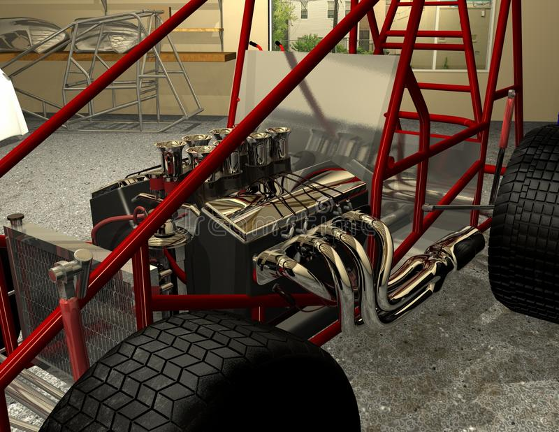Sprint Car Frame Motor And Wheels Stock Illustration - Illustration ...