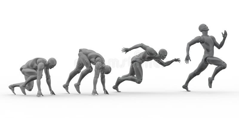 sprint 3D humana fotografia de stock