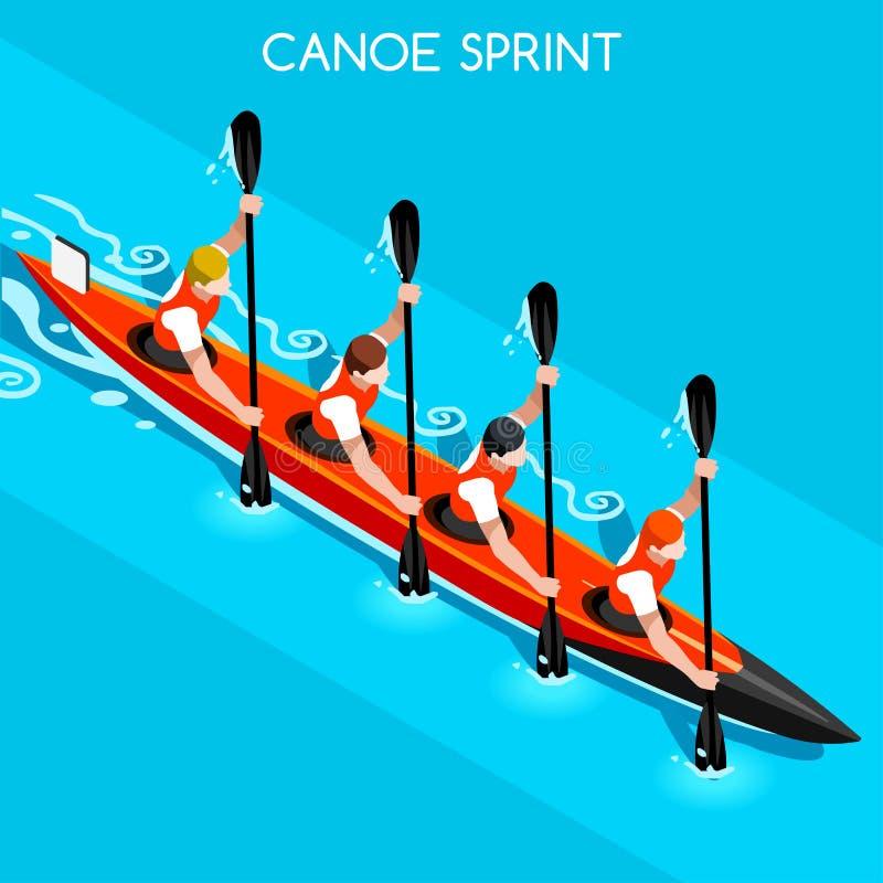 Sprint do caiaque grupo do ícone de quatro jogos do verão Paddler isométrico da canoísta 3D Raça ostentando da competição do caia ilustração do vetor
