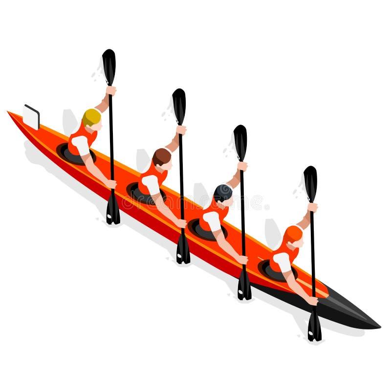Sprint do caiaque grupo do ícone de quatro jogos do verão Paddler isométrico da canoísta dos Olympics 3D Raça ostentando da compe ilustração stock