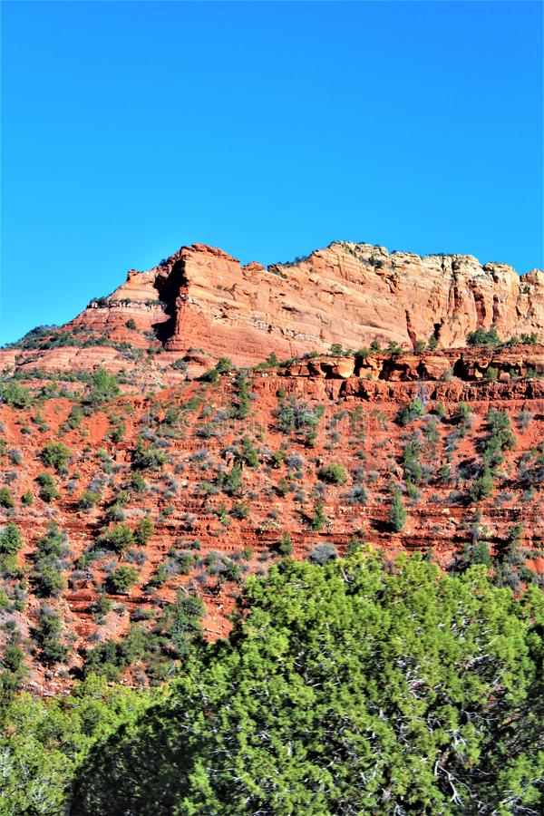 Landscape Scenery, Maricopa County, Sedona, Arizona, United States. Sprint landscape scenery view of the mountains and desert vegetation from Sedona, Maricopa royalty free stock image