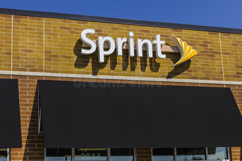 Zionsville - Circa September 2017: Sprint Retail Wireless Store. Sprint is a Subsidiary of Japan`s SoftBank Group Corporation VIII. Sprint Retail Wireless Store royalty free stock image