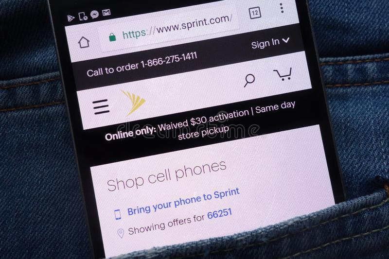 Sprint website displayed on smartphone hidden in jeans pocket royalty free stock photo