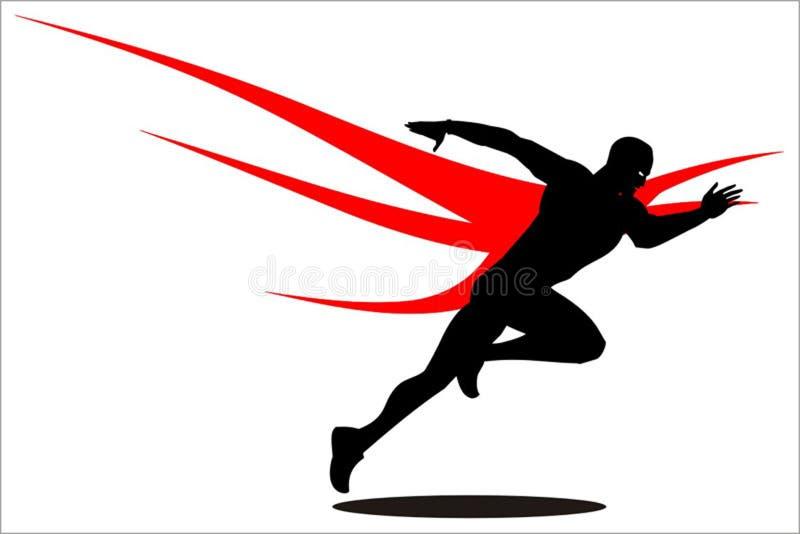Sprinter, champion, winner. runner logo, runner with the wings  icon on the background. stock illustration