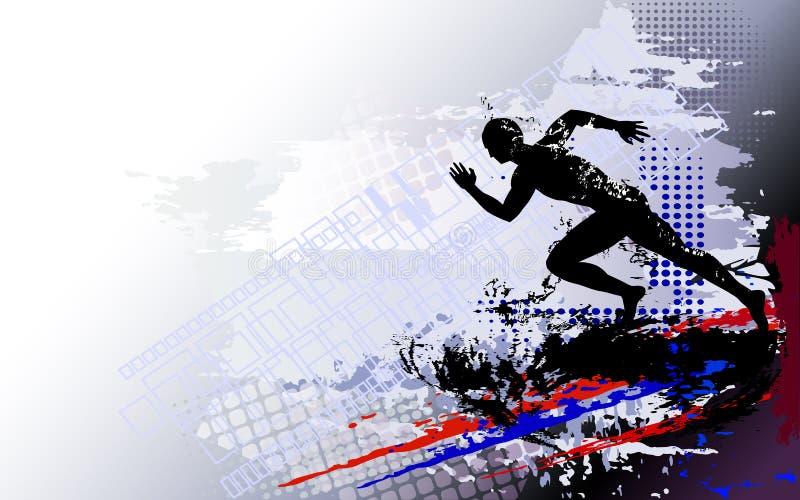 Sprinter courant d'homme sur le fond clair texturisé illustration stock