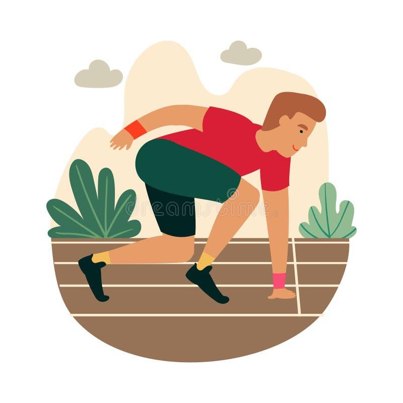 Sprinter del fumetto pronto a sprintare sulla linea di partenza illustrazione vettoriale
