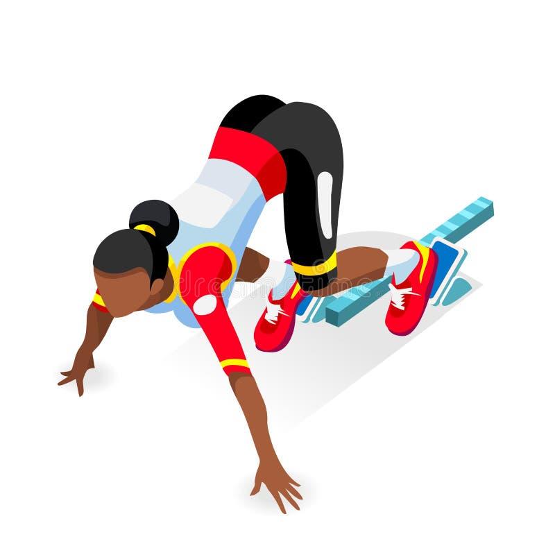Sprinter-Läufer-Athlet an Anfangszeile Leichtathletik-Rennanfangsolympics-Sommer-Spiel-Ikonen-Satz flacher isometrischer Sport 3D lizenzfreie abbildung