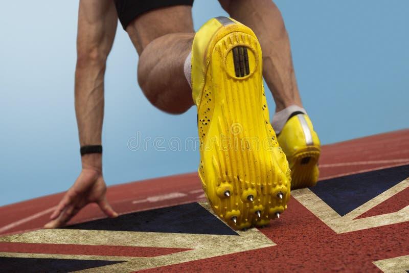 De sprinter Britten markeert stock fotografie