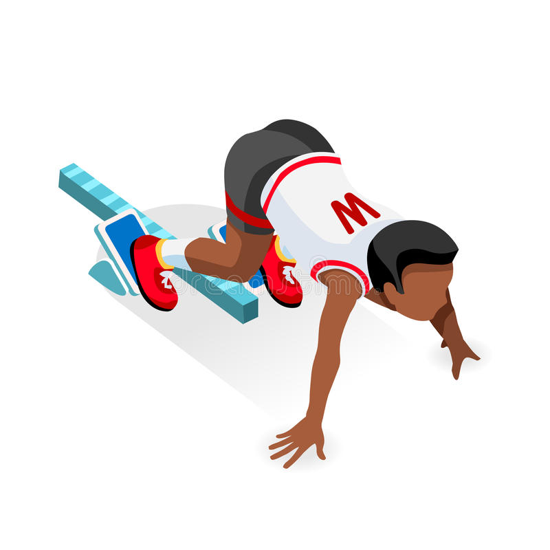 Sprinter Runner Athlete at Starting Line Athletics Race Start Summer Games Icon Set.3D Flat Isometric Sport of Athletics Runner vector illustration