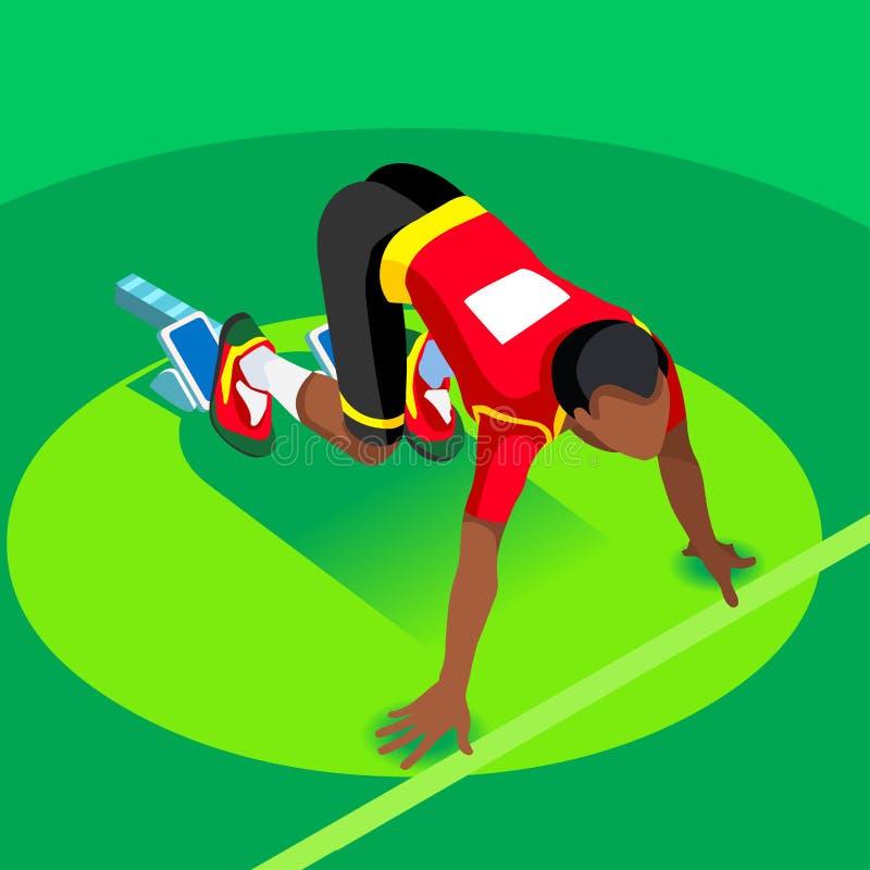 Sprinter Runner Athlete at Starting Line Athletics Race Start Summer Games Icon Set.Olympics 3D Flat Isometric Sport of Athletics royalty free illustration
