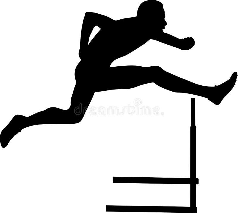 Sprinter runner men running hurdles vector illustration