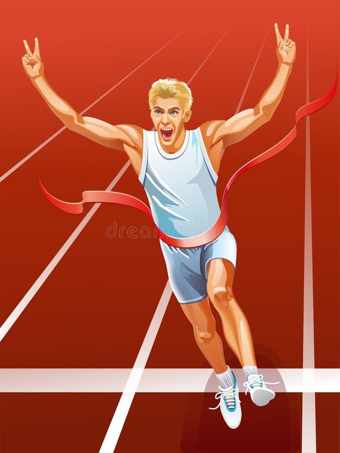 Sprinter runner running winner at finish line vector illustration