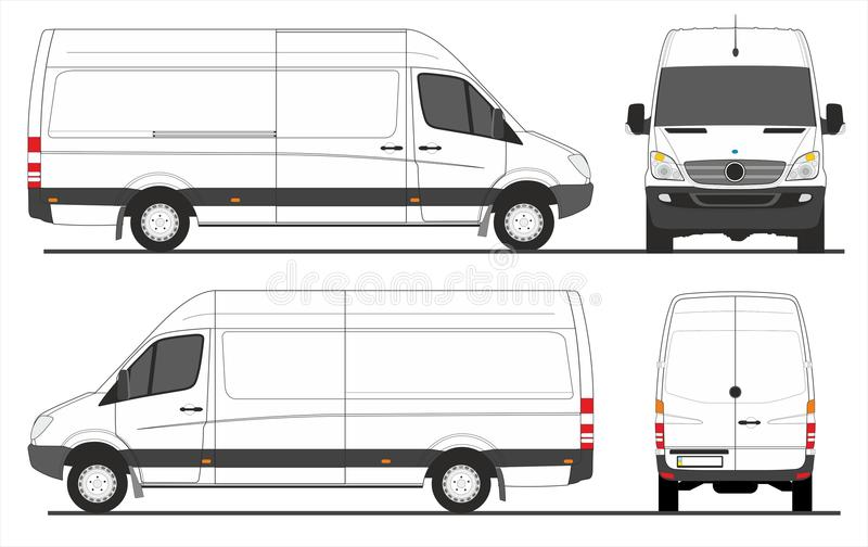 Mercedes Sprinter Van LWB stock illustration