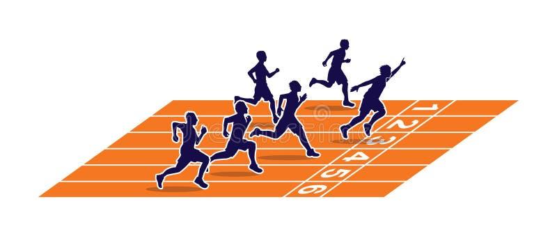 Sprinter vinnaren på det rinnande spåret royaltyfri illustrationer