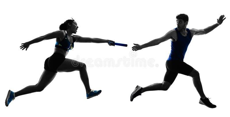Sprinters δρομέων ηλεκτρονόμων αθλητισμού που τρέχουν απομονωμένο το δρομείς silho στοκ εικόνες