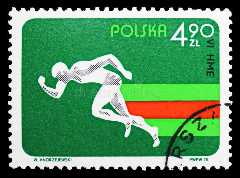 Sprinting, 6-ые европейские крытые атлетические чемпионаты, serie Катовице, около 1975 стоковое фото rf