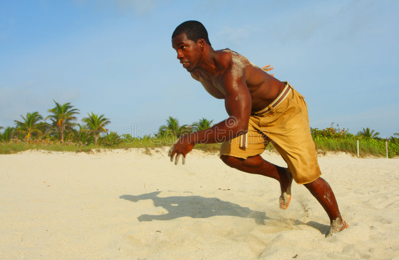 Download Sprinting On The Beach stock image. Image of black, ripped - 4677869